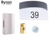 Türklingelset + Hausnummernleuchte mit Dämmerungssensor, Hausklingel Außenlampe