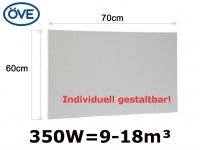 350W Infrarotheizung, 60x70 cm, für Räume 9-18m³, bemalbar, IP44