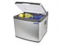 Große 42l Hybride Kühlbox mit Edelstahlblende für Camping, 12V/230V Betrieb