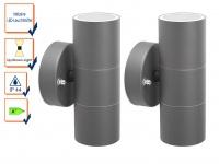 2er-Set Up-/Down Außenwandleuchten IP44, inkl. 2 x 3W LED 230 Lumen, GU10-Sockel