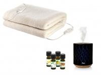 Wellness-Set: Warme 2 Personen Heizdecke aus Wolle + US-Duftzerstäuber + 4 Öle