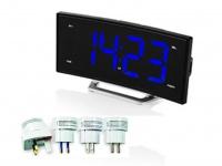 Radiowecker mit Universal Reisesteckerset, USB Anschluss, 2 Weckzeiten & Snooze