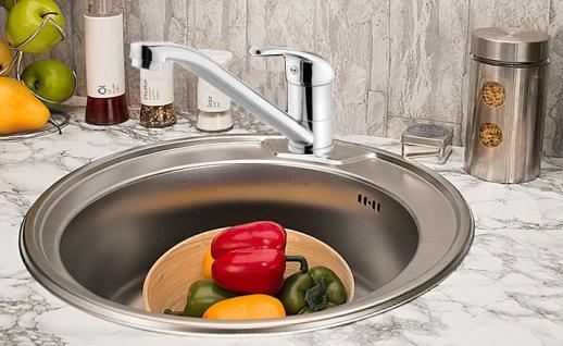 Edelstahl Küchenspüle Rundspüle Waschbecken Einbauspüle Spüle+Küchen Armatur
