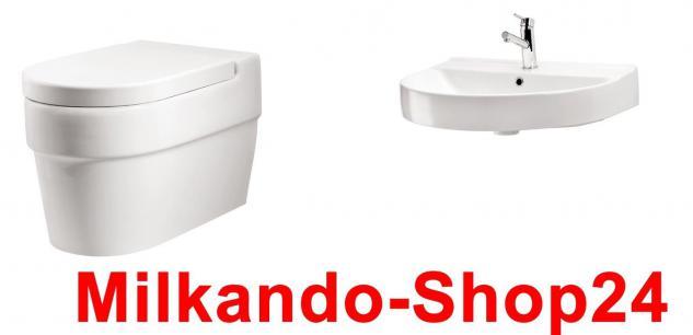 Hänge Waschbecken Keramik + Hänge Wc inkl. Wc Sitz mit absentautomatik Komplett