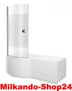 Badewanne 170 inkl.Front-und Seitenschürze, Badewannen-Duschwand mit Wanne wenus