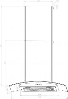Dunstabzugshaube Wandhaube Edelstahl Abzugshaube Kaminhaube Glas Edelstahl 60 cm - Vorschau 3