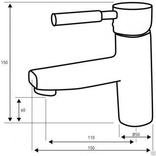 Design Einhandmischer Bad Badezimmer Wasserhahn Chrom Waschtisch Armatur BS1NS - Vorschau 2