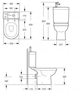 Design Stand Wc komplett set Spülkasten KERAMIK inkl. Waschbecken Gäste WC - Vorschau 3