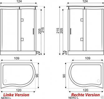 Luxus Echtglas Duschabtrennung Duschkabine Dusche Acryl Duschwanne 120 X 90 Cmnt - Vorschau 2