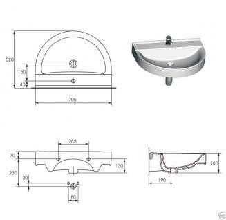 Design WAND HÄNGE Waschbecken  ecom 70 Für Wand Montage - Vorschau 3