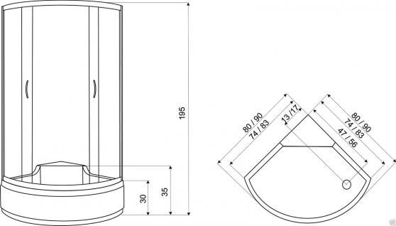 Viertelkreis Duschkabine 90x90cm Duschtasse Duschabtrennung Duschwanne Dusche AT - Vorschau 3