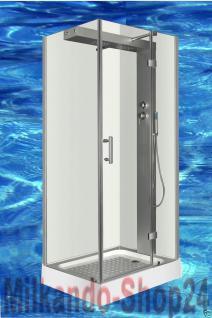 Luxus DUSCHTEMPEL DUSCHKABINE ECHT ESG GLAS ECK Duschabtrennung 100 x 80 cm Tr