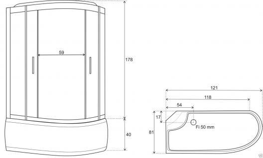 Duschtempel Fertigdusche Duschkabine Echt glas Komplett Dusche Wanne 120x81cm J - Vorschau 4