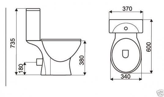 Stand WC Set Toilette bodenstehend Abgang waagerecht Spülkasten Keramik +WC Sitz - Vorschau 2