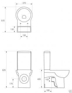 Design Stand Wc komplett set Spülkasten KERAMIK Abfluss:waagerecht / senkrecht - Vorschau 4
