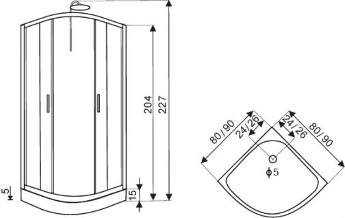 Duschtempel Fertigdusche Duschkabine GLAS Komplett DUSCHE Wanne 80 x 80cm - Vorschau 4