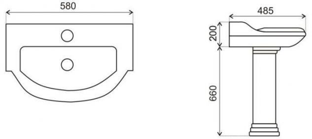 Spülstein Waschbecken Keramik Classic Retro Waschtisch mit Säule - Vorschau 2