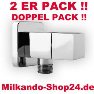 2ER PACK ECKVENTIL 1/2 ZOLL ECKIG RUND + WANDROSETTE ZKCH 1/2 zu 3/8 Zoll Chrom