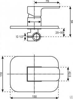 Wannenmischer chrom, Wannen Armatur Unterputz VE 10 Duscharmatur Einhebelmischer - Vorschau 2