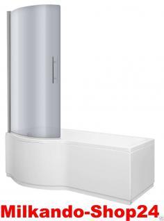Badewanne 150cm inkl. Front- und Seitenschürze, Badewannen-Duschwand mit Wanne
