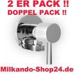2ER PACK ECKVENTIL 1/2 ZOLL ECKIG RUND + WANDROSETTE ZOCH 1/2 zu 3/8 Zoll
