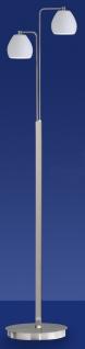 Deutsche LED Stehleuchte Nickel Chrom Fußdimmer 2 Flammig Opalglas