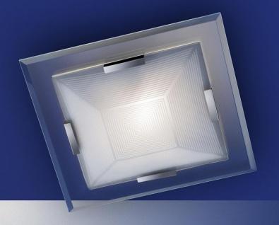 Moderne Deckenleuchte mit Energiesparleuchtmittel, Nickel matt, Glas weiss, klar abgesetzt