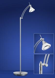 Deutsche LED Stehleuchte Nickel Chrom Tastdimmer 900 Lumen Schwenkbar