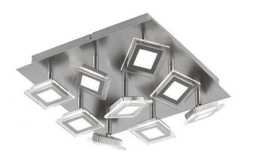 Wofi LED Deckenleuchte Cholet 9 flammig Schwenkbar Deckenlampe Nickel Matt