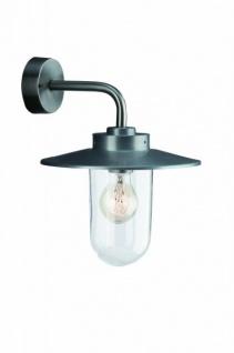 Wandaussenleuchte Edelstahl Glas E27 IP44 für LED & Energiespar