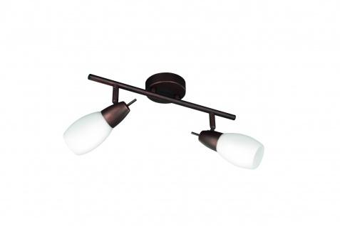 Energiespar Deckenleuchte 2 Flammig Glas Braun Strahler 36, 5cm
