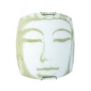 Wandleuchte Grau Wandlampe Dekorglas Buddha Glas