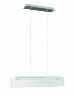 Pendelleuchte LED 2 Flammig Silber Dimmbar Glas Aluminium 60cm