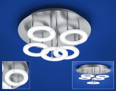 Deutsche LED Deckenleuchte Nickel matt mit Chrom 4250lm Dimmbar Ø 40cm