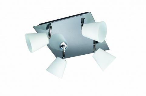 Badezimmerleuchte Halogen Deckenleuchte Badleuchte 4 Flammig Glas 26x26cm Chrom