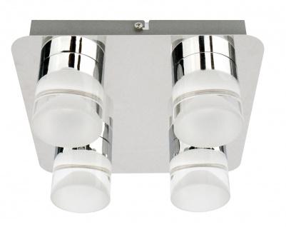 LED Deckenleuchte Chrom Metall 4x5W 3000K 1436lm 22x22x9, 5cm Glasoptik