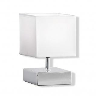 Honsel Tischleuchte 1xE14 max. 30W/230V Stoff Keramik Chrom 21cm LED tauglich