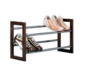 Zeller Schuhablage Schuhregal Schuhständer Metall Chrom Holz ausziehbar