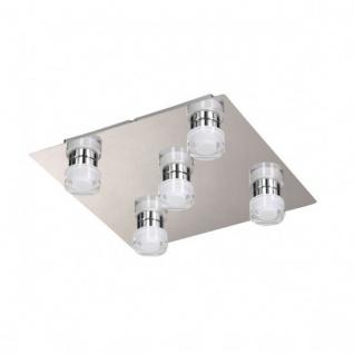 Wofi LED Deckenleuchte Lorient 5 flammig Nickel Matt/Chrom Quadratisch Deckenlampe Glas