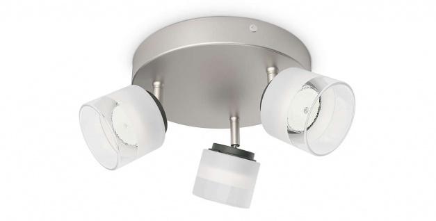 Philips LED 3 flammig Deckenleuchte Silber 990lm Spotleiste Glas Ø 21cm