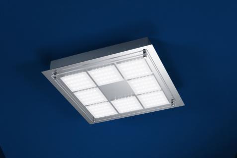 Deutsche LED Deckenleuchte Chrom 3150 Lumen Dimmbar 37 x 37cm