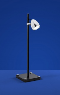 Deutsche LED Tischleuchte Schwarz Chrom Glas Schalter Höhe 53cm