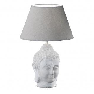 Honsel Tischleuchte Buddha Grau Stoff Tischlampe Keramik Leuchte Lampe Gelenk