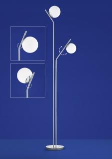 Deutsche 2 flammige LED Stehleuchte mit TastdimmerDeutsche LED Stehleuchte Messing matt Tastdimmer 2 Flammig 1800lm Glas