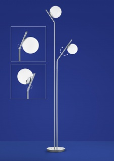 Deutsche LED Stehleuchte nickel matt Tastdimmer 2 Flammig 1800lm GlasDeutsche LED Stehleuchte Messing matt Tastdimmer 2 Flammig 1800lm Glas