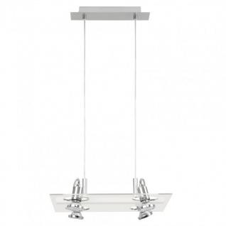 Eglo Hängeleuchte Modern Focus 4 flammig Silber Glas Pendel Leuchte Halogen