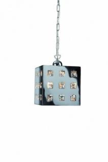 Pendelleuchte Würfel 1x E27 bis 60W Metallpendel Glas Chrom 20cm LED geeignet