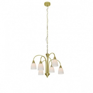 Wofi Pendelleuchte LED Casa Klassisch Design Hängeleuchte 6 flammig Messing Glas