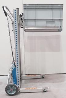 125kg 24V Mobiler Lift m. Kistengabel Lifer Materialheber Lastenlift H 1m