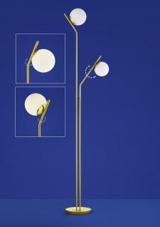 Deutsche LED Stehleuchte Messing matt Tastdimmer 2 Flammig 1800lm Glas